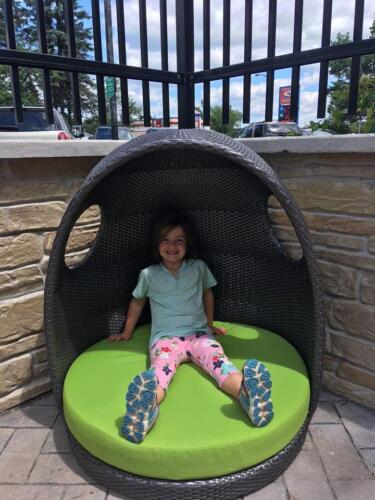 Joy in the egg chair